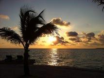 Solnedgång i ön, sabah Borneo Royaltyfria Bilder