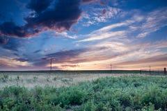Solnedgång i östliga slättar Colorado Fotografering för Bildbyråer