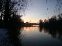Solnedgång i Aarau Arkivbild
