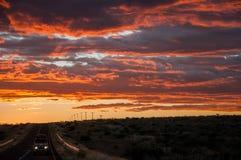 Solnedgång i Afrika Royaltyfria Bilder