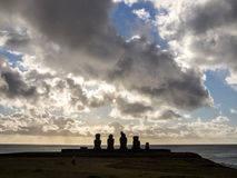 Solnedgång i Ahu Tahai Fotografering för Bildbyråer