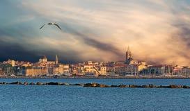 Solnedgång i Alghero arkivfoton