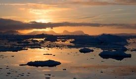 Solnedgång i Antarktis Arkivfoton