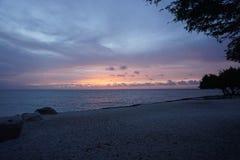 Solnedgång i Aruba Arkivfoton