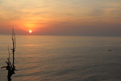 Solnedgång i Asien Royaltyfri Fotografi