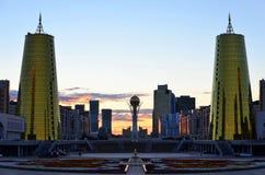 Solnedgång i Astana, Kasakhstan Royaltyfria Foton