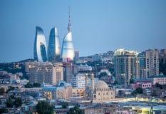 Solnedgång i Baku Arkivfoton
