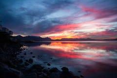 Solnedgång i bariloche Arkivfoto