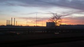 Solnedgång i Belgrade royaltyfri foto