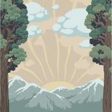 Solnedgång i bergen Royaltyfri Illustrationer