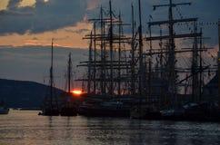 Solnedgång i Bergen Arkivfoton
