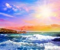 Solnedgång i Blacket Sea yalta crimea arkivbilder