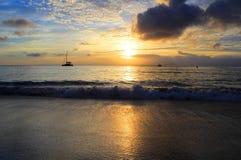 Solnedgång i bleue Arkivbilder