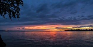 Solnedgång i Bodensee Royaltyfri Foto