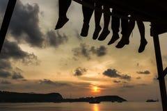 Solnedgång i bra företag Royaltyfria Foton