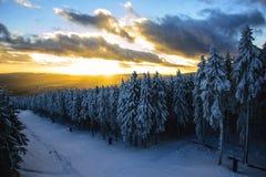 Solnedgång i Braunlage Arkivfoton