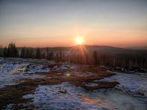 Solnedgång i Brdy Arkivfoto