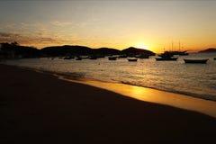 Solnedgång i Buzios Royaltyfri Bild