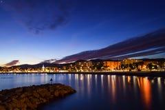 Solnedgång i Cagnes sur Mer på den franska Rivieraen Royaltyfri Foto