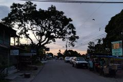 Solnedgång i cahuita Fotografering för Bildbyråer