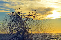 Solnedgång i camogli Arkivfoto