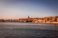 Solnedgång i Castelnaudary, Frankrike Royaltyfria Foton