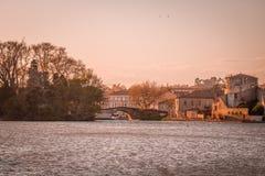 Solnedgång i Castelnaudary, Frankrike Royaltyfri Foto