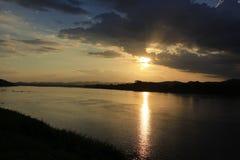 Solnedgång i Chiang Khan Fotografering för Bildbyråer