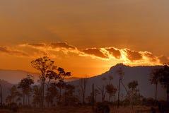 Solnedgång i Chiang Mai royaltyfri bild