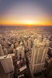 Solnedgång i Chicago, Illinois Arkivbilder