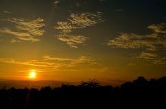 Solnedgång i chitwan Royaltyfri Fotografi