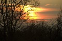 Solnedgång i Collsacabra Arkivfoto