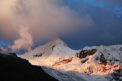 Solnedgång i Cordilleras Fotografering för Bildbyråer