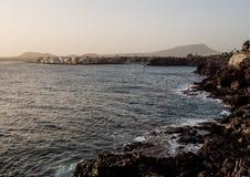 Solnedgång i Costa del Silencio arkivfoto