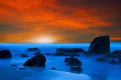 Solnedgång i Crete fotografering för bildbyråer