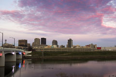 Solnedgång i Dayton Arkivfoto