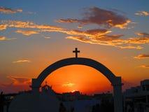 Solnedgång i de grekiska öarna Arkivfoton