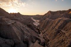 Solnedgång i de Nebraska badlandsna Royaltyfri Foto