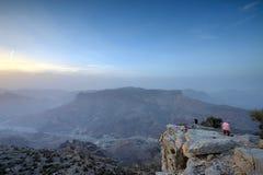 Solnedgång i de omanska bergen Royaltyfria Bilder