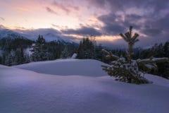 Solnedgång i de snöig österrikiska bergen royaltyfria foton
