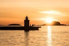 Solnedgång i den Aalesund staden i Norge Royaltyfria Bilder