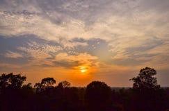 Solnedgång i den Angkor templet, Cambodja Arkivfoton