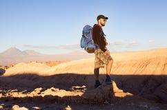 Solnedgång i den Atacama öknen Royaltyfri Bild