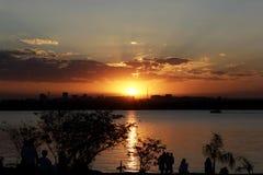 Solnedgång i den brasilianska huvudstaden Royaltyfri Foto