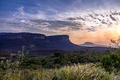 Solnedgång i den Chapada Diamantina nationalparken - Bahia, Brasilien Arkivfoton