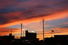 Solnedgång i den Coney Island parkeringsplatsen Fotografering för Bildbyråer