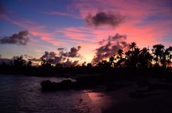 Solnedgång i den Eton stranden, Vanuatu royaltyfri bild