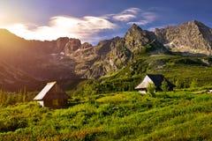 Solnedgång i den Gasienicowa dalen Tatra berg Royaltyfria Foton