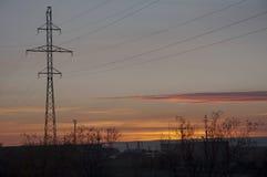 Solnedgång i den industriella gatan Royaltyfri Fotografi