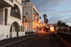 Solnedgång i den italienska staden Acireale Royaltyfria Foton